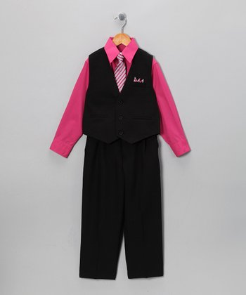 Black & Fuchsia Vest Set - Infant & Toddler