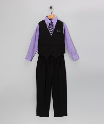 Black & Violet Vest Set - Infant & Toddler