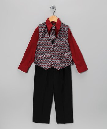 Black & Wine Vest Set - Infant & Toddler