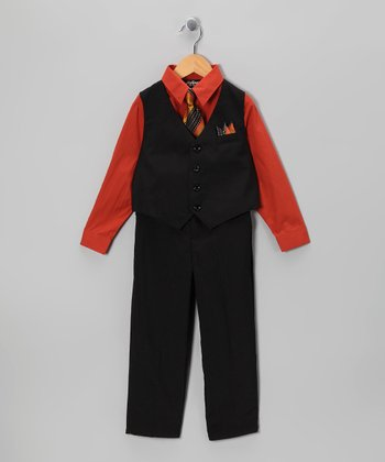 Black & Paprika Vest Set - Infant, Toddler & Boys
