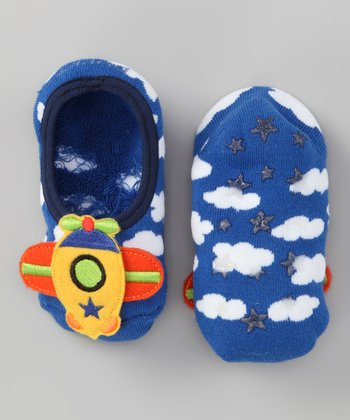 Simpls by Puket Blue Baby Airplane Booties