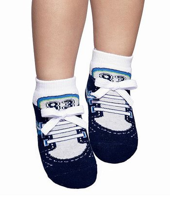 Blue Meia Micro Appliqué Gripper Socks