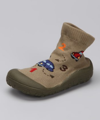 Khaki Car Baby Funny Grippy Booties