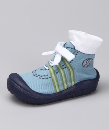 Blue Sport Baby Funny Grippy Booties