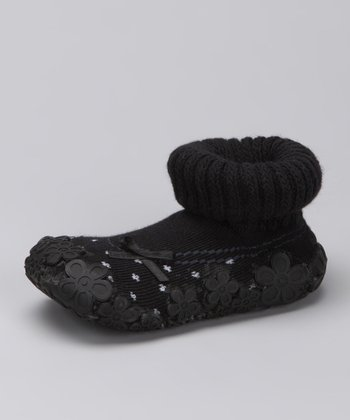 Black Bow Baby Dolls Gripper Shoe