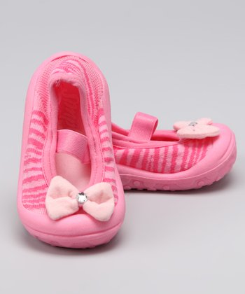 Simpls by Puket Pink Bow Baby Dolls Grippy Booties