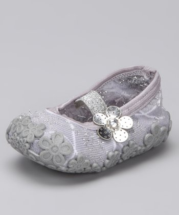 Silver Flower Baby Dolls Grippy Booties