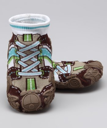 Simpls by Puket Brown Laces Baby Funny Grippy Booties