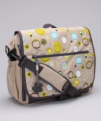 Simply Good Green & Gray Circles Daisy Diaper Bag