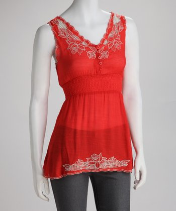 Red Embroidered Blossom Sleeveless Top