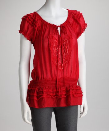 Red Beaded Drop-Waist Top