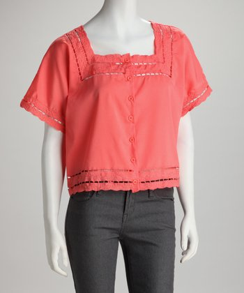 Coral Eyelet Button-Up Top