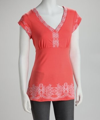 Red Embroidered V-Neck Top