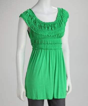 Green Ruffle Top