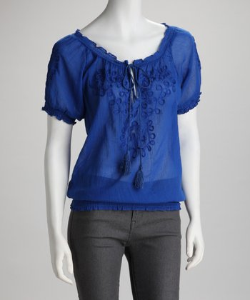 Blue Twirling Ribbon Keyhole Top