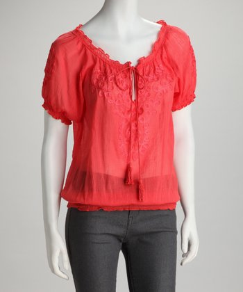 Red Twirling Ribbon Keyhole Top