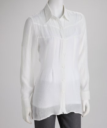 White Sheer Reverse Pleat Button-Up