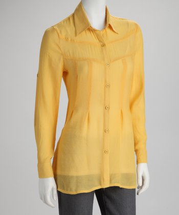 Yellow Sheer Reverse Pleat Button-Up