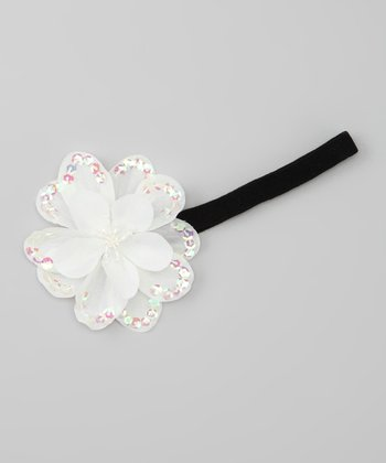 Ivory Sequin Flower Headband