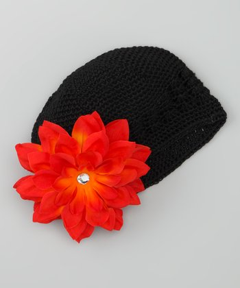 Black & Red Crocheted Beanie