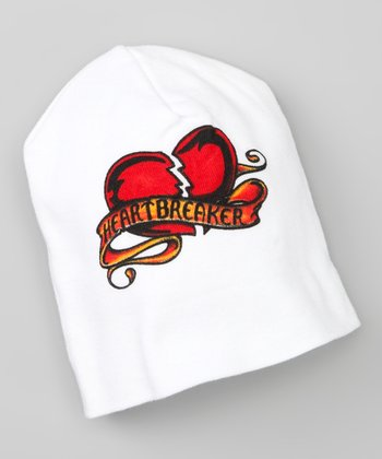 White 'Heartbreaker' Tattoo Beanie