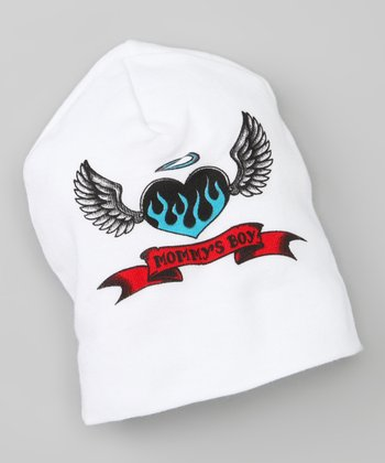 White 'Mommy's Boy' Tattoo Beanie