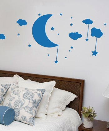 Azure Moon, Clouds & Stars Wall Decal
