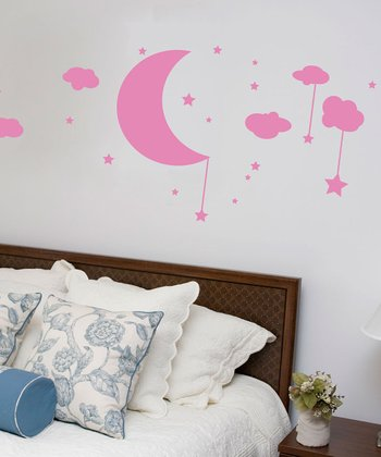 Soft Pink Moon, Clouds & Stars Wall Decal