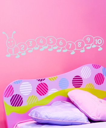 Powder Blue Counting Caterpillar Wall Decal