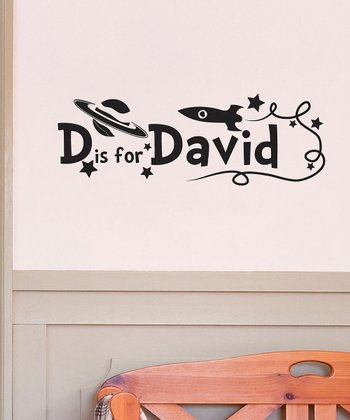 Black D is for David Personalized Wall Decal