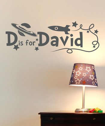 Dark Gray Rocket Personalized Wall Decal