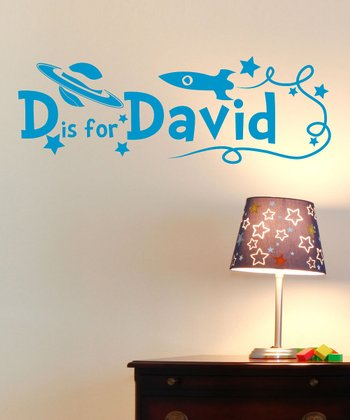 Light Blue Rocket Personalized Wall Decal