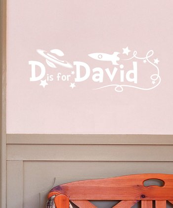 White D is for David Personalized Wall Decal