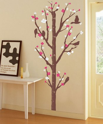 Pink Cherry Blossom Growth Chart Wall Decal