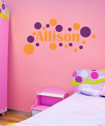 Orange & Violet Modern Dot Personalized Wall Decal