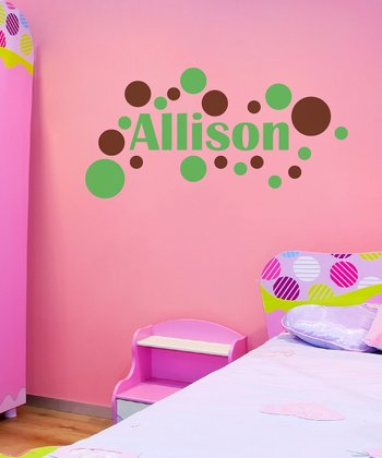 Green & Brown Modern Dot Personalized Wall Decal