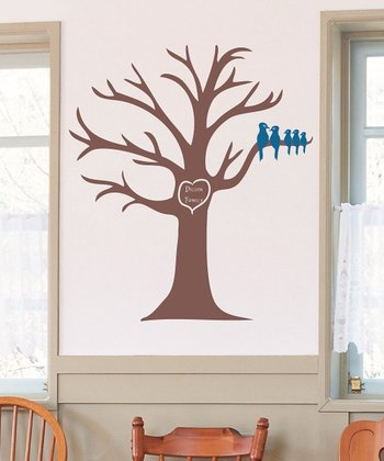 Brown & Blue Carved Family Tree & Bird Personalized Wall Deca