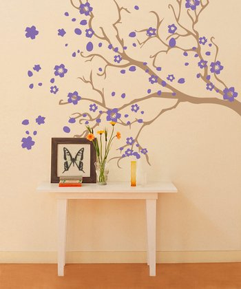 Light Brown & Lavender Watsonia Branch Wall Decal