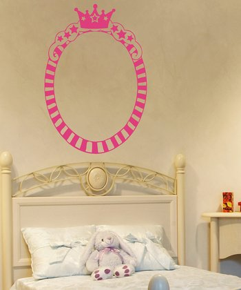 Pink Princess Oval Frame Wall Decal