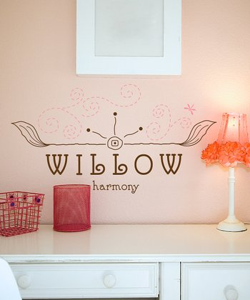 Brown & Soft Pink Free Spirit Personalized Wall Decal