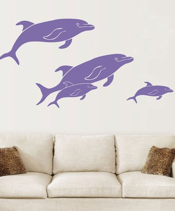 Sissy Little Purple Friendly Pod of Dolphins Wall Decal Set