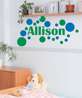 Azure Blue Modern Dot Personalized Wall Decal