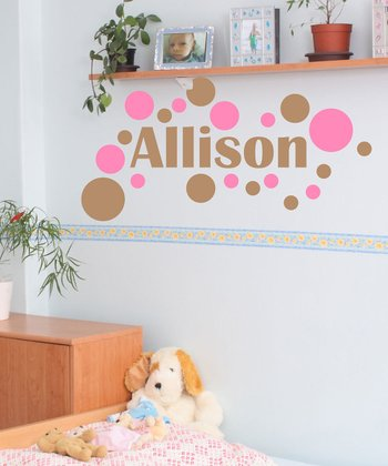 Sissy Little Soft Pink Modern Dot Personalized Wall Decal