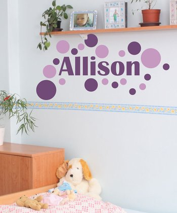 Violet & Lilac Modern Dot Personalized Wall Decal