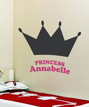 Pink Her Majesty Personalized Chalkboard Wall Decal