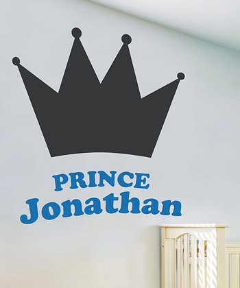 Azure Blue His Royal Highness Personalized Chalkboard Wall Decal