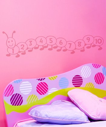 Soft Pink Counting Caterpillar Wall Decal