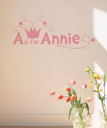 Soft Pink Crown Personalized Wall Decal