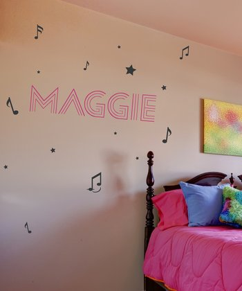 Soft Pink & Black Famous Personalized Wall Decal