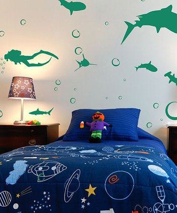 Green Shark Infested Decal Set